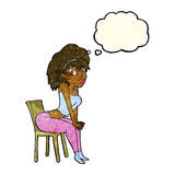 Cartoon woman posing on chair with thought bubble Stock Photography