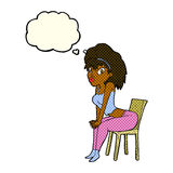 Cartoon woman posing on chair with thought bubble Stock Photo