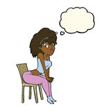 Cartoon woman posing on chair with thought bubble Stock Photos