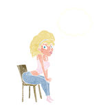 Cartoon woman posing on chair with thought bubble Royalty Free Stock Photography