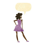 Cartoon woman posing in dress with speech bubble Royalty Free Stock Photos