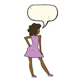 Cartoon woman posing in dress with speech bubble Royalty Free Stock Image