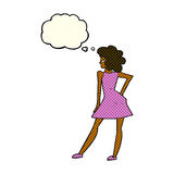 Cartoon woman posing in dress with thought bubble Stock Photo