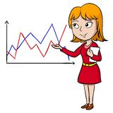 Cartoon woman present graph Stock Photos