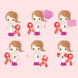 Cartoon woman preventing AIDS. Great for your design Stock Photo