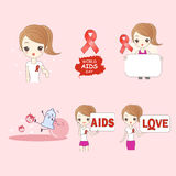 Cartoon woman preventing AIDS. Great for your design Stock Images