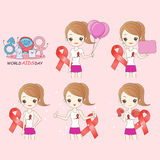 Cartoon woman preventing AIDS. On pink background Stock Photography