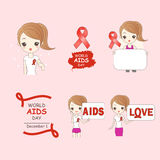 Cartoon woman preventing AIDS. On pink background Royalty Free Stock Photo