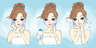 Cartoon woman problem skin care Royalty Free Stock Photography