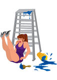 Cartoon woman in purple dress legs up near the ladder Stock Photo