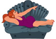 Cartoon woman in purple dress lying on the couch Royalty Free Stock Images