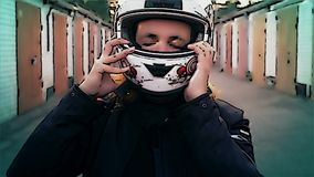 Cartoon woman putting on motorcycle helmet, ready for adventure, lifestyle concept. Video stock video footage