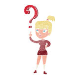 Cartoon woman with question Stock Photography