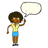cartoon woman with question with speech bubble Royalty Free Stock Photography
