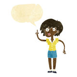 cartoon woman with question with speech bubble Royalty Free Stock Photo