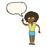 cartoon woman with question with speech bubble Royalty Free Stock Image