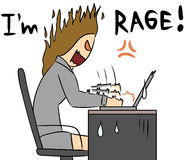 Cartoon woman rage work Royalty Free Stock Images