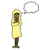 Cartoon woman in raincoat Royalty Free Stock Photo