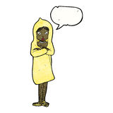 Cartoon woman in raincoat with speech bubble Stock Photo