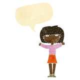 Cartoon woman raising arms in air with speech bubble Stock Photos