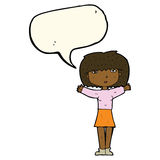 Cartoon woman raising arms in air with speech bubble Royalty Free Stock Photo