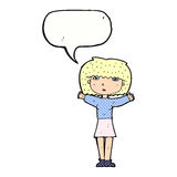 Cartoon woman raising arms in air with speech bubble Royalty Free Stock Image