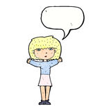 Cartoon woman raising arms in air with speech bubble Stock Image