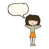 Cartoon woman raising arms in air with speech bubble Stock Images