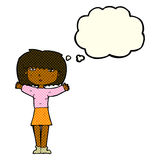 Cartoon woman raising arms in air with thought bubble Royalty Free Stock Photo
