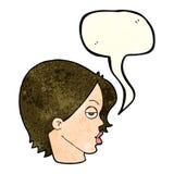 cartoon woman raising eyebrow with speech bubble Stock Photography