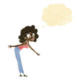 Cartoon woman reaching to pick something up with thought bubble Royalty Free Stock Images