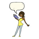 Cartoon woman reading book with speech bubble royalty free illustration