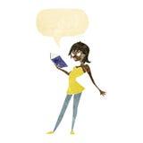 Cartoon woman reading book with speech bubble stock illustration