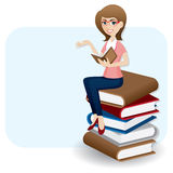 Cartoon woman reading book on stack of book Royalty Free Stock Photos
