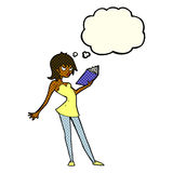 Cartoon woman reading book with thought bubble royalty free illustration