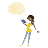 Cartoon woman reading book with thought bubble vector illustration