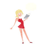 cartoon woman reading book with thought bubble Royalty Free Stock Photo