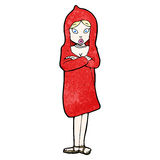 Cartoon woman in red coat Stock Image