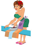 Cartoon woman in red slippers ironing Stock Images