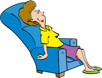 Cartoon woman resting in a chair. Royalty Free Stock Photography