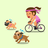 Cartoon woman ride bike with running dogs Royalty Free Stock Images