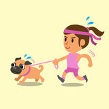 Cartoon woman running with her pug dog Stock Image