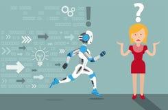 Cartoon Woman Running Robot Data Arrows Royalty Free Stock Image