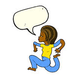 cartoon woman running with speech bubble Royalty Free Stock Photography