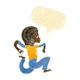Cartoon woman running with speech bubble Stock Photo