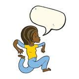 Cartoon woman running with speech bubble Stock Photography