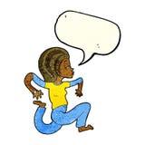 Cartoon woman running with speech bubble Stock Photos