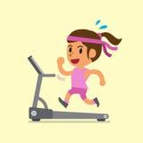 Cartoon woman running on treadmill Royalty Free Stock Image