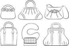 Cartoon woman's bag. Stock Image