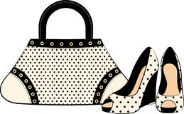 Cartoon woman's bag and shoes. Royalty Free Stock Images